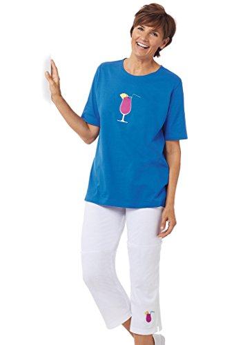 Knit Embroidered Capri Set Blue/White
