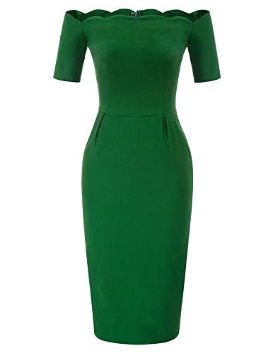 Women's Vintage Off Shoulder Pencil Dress Green Size XL BP892-2