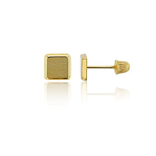 14K Yellow Gold Polished Square Hat Screw-back Stud Earring
