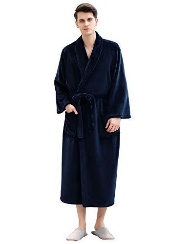 Men Plush Fleece Robe Mid-Calf Length Soft Warm Bathrobe Pajamas Housecoat Sleepwear Dressing Gown Navy Blue