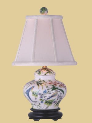 Asian Dcor Gifts - Porcelain Lily Cover Jar Table Lamp