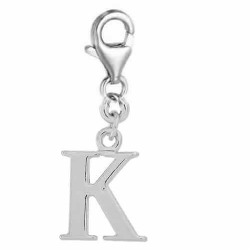 Additional Initial Charms (Letter Clip on Charm Perfect for Necklaces and Bracelets Initial Letter K 94B)