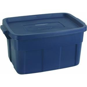 Rubbermaid Roughneck Tote Storage Container, Dark Indigo Metallic, 14-gallon (FG2212CPDIM)