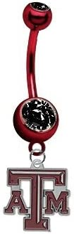 B017MS0AD4 Texas A&M Aggies PREMIUM Red w/ Black Gem Titanium Anodized Sexy Belly Navel Ring 31EnDhSpsiL