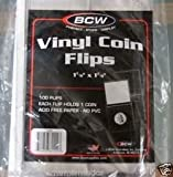"100 Pcs. 1-7/8"" x 1-7/8"" Vinyl Coin Flips, Coin Holders"