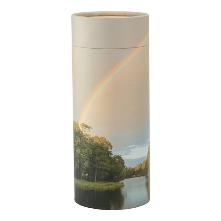 Silverlight Urns Rainbow Pond Scattering Tube, Adult Urn, Multicolor, 12.5 x 5 inches, Biodegradable Cremation (Rainbow Urn)