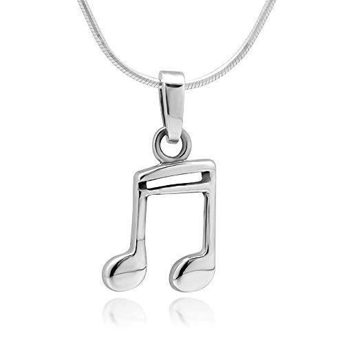925 Sterling Silver 16th Note Music Lover or Musician Pendant Necklace, 18 inches