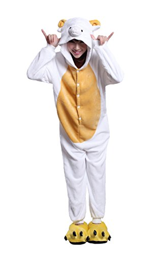Men Halloween Costumes Ideas 2016 (Honeystore Cosplay Halloween Romper Sheep Animal Costume Party Pajama One Piece XL)