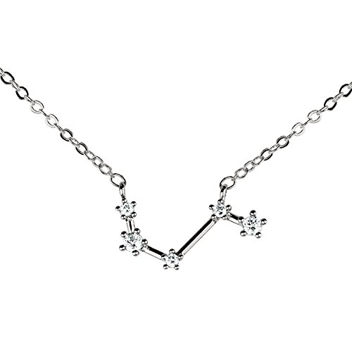 Silver Crystal Zodiac Necklace Constellation Jewelry Birthday Gift Sorority Sister