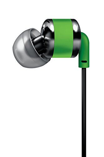 SHARPER IMAGE SHP886GR Ergonomic Angled Earbuds with Mic, Tangle Free, Green