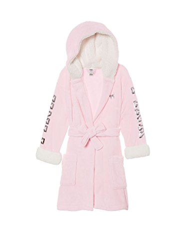 Victoria's Secret Pink Cozy Hooded Short Bling Sherpa Lined Robe XS/S