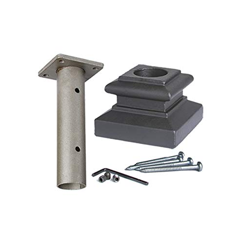 Satin Black 16.3.14 Newel Mounting Kit for 1-3/16 inch Round Iron Newel Posts for Stair Remodeling by House of Forgings