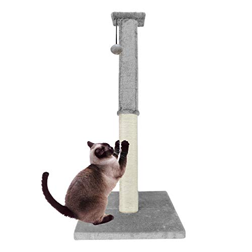 Downtown Pet Supply Deluxe Interactive Cat Scratching Sisal Posts Tree and Exerciser for Kitty, Interactive Cat Toys (Premium Scratch Post)