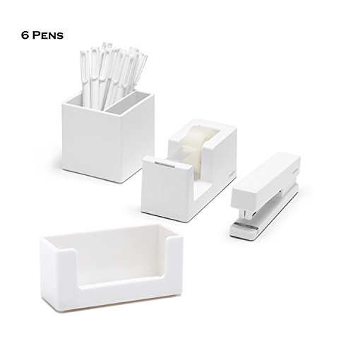 Poppin 10 Piece Set Fresh Start Desk Collection (White)