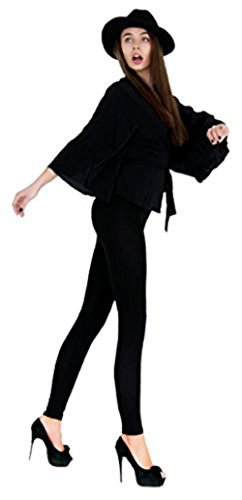 Leggings Depot Basic Solid Plain Full Leggings Stretch 128 (Black),One Size,Black