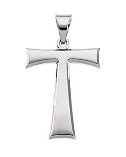 Tau Cross 14k White Gold Pendant