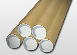 25 Manilla (Brown) A1 (640mm x 50mm) Cardboard Postal Tubes + End Caps ODL Packaging