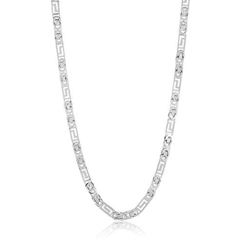 Key Necklace Greek - West Coast Jewelry | Crucible Polished Stainless Steel Greek Key Flat Byzantine Chain Necklace (8mm) - 22