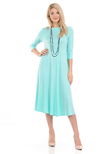 iconic luxe Women's A-Line Swing Trapeze Midi Dress X-Large Mint