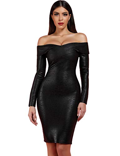 Whoinshop Women's Off Shoulder Long Sleeve Bandage Bodycon Foil Club Dress Black XL