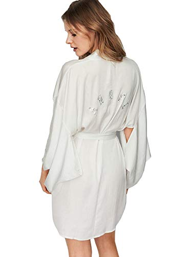 (Victoria's Secret Dream Angels Short Satin Kimono Angel Rhinestone Robe M/L)