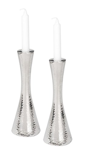Stainless Steel Hammered Shabbat Candlesticks / Set of 2