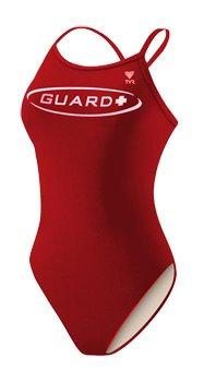 TYR Guard Diamondback Swimsuit, Red, 36 -