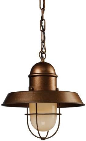 Elk 65049-1 Farmhouse 1-Light Pendant, 21-Inch, Bellwether Copper