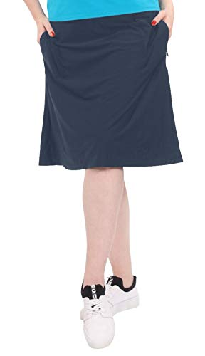 Kosher Casual Women's Modest Knee-Length Swim/Sport Skirt with On-Seam Side Zip Pockets & Attached Shorts XL Navy