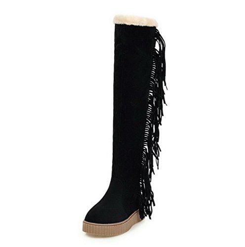 AllhqFashion Mujeres Sin cordones Mini Tacón Gamuza(Imitado) Sólido Caña Alta Botas Negro