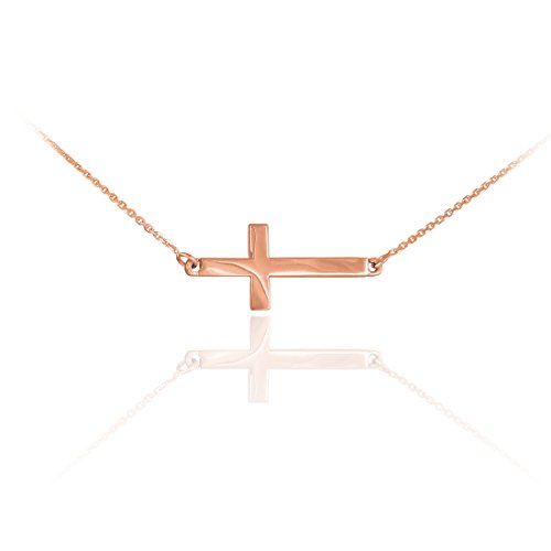 14 ct 585/1000 Or Rose-Lateralement Quer nette Collier