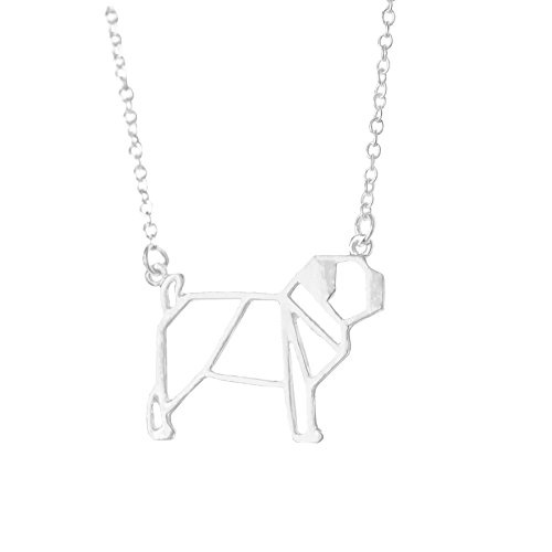 Altitude Boutique Pug Necklace, Dog Pendant Necklace, Origami Geometric Jewelry (Silver)