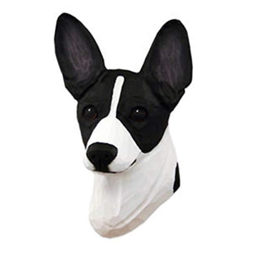 Ky & Co YesKela Rat Terrier Head Plaque Figurine Black/White - Figurine Rat Terrier