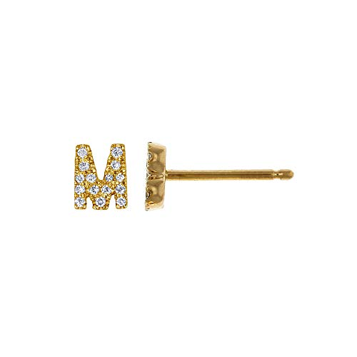 14K Yellow Gold Diamond 'M' Initial Letter Personalized Micro-set Single Earring Stud ()