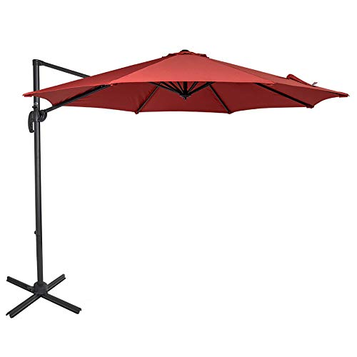 Sundale Outdoor 10ft Offset Hanging Umbrella Market Patio Umbrella Aluminum Cantilever Pole with Crank Lift, Corss Frame, Polyester Canopy, 360°Rotation, for Garden, Deck, Backyard (Brick Red) (Umbrella An Offset What Is)