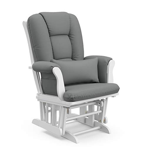 31EngSeISYL - Storkcraft Tuscany Custom Glider And Ottoman With Lumbar Pillow, White/Grey