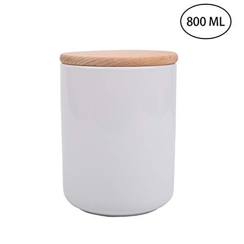 Food Storage Canister - IEBIYO White Ceramics Canister - with Airtight Seal Wooden Lid - Modern Design for Serving Tea, Coffee, Spice, Snacks, Seasonings, Nuts, Pasta and More (27.05 FL OZ / 800 ML)