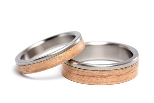 Set of two titanium and bentwood wedding bands. Unique and natural wooden rings. Water resistant and hypoallergenic. (00519_4N6N)