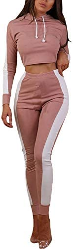 Women Casual 2 Piece Outfits Side Stripe Tracksuit Long Sleeve Crop Tops Skinny High Waist Pants Set Sports Jogging Suits