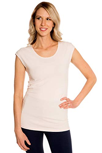 (Heirloom Clothing Cap Sleeve T-Shirts for Women Slim Fit Cream Medium)