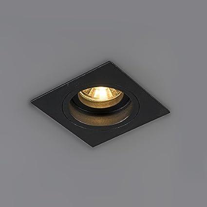 QAZQA Modern Einbaustrahler rund schwarz dreh Chuck//Innenbeleuchtung//Wohnzimmerlampe//Schlafzimmer//K/üche Stahl Rund LED geeignet GU10 Max 1 x 50 Watt und neigbar