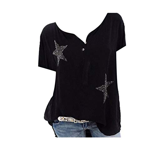 Plus Size Tops Women Shirt Button Five-Pointed Star Hot DrillBlouse ()