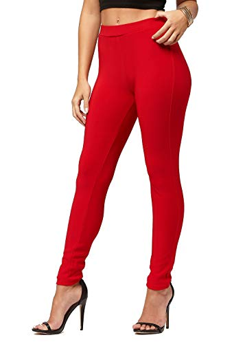 Premium Women's Stretch Ponte Pants - Dressy Leggings with Butt Lift - Red - Large/X-Large