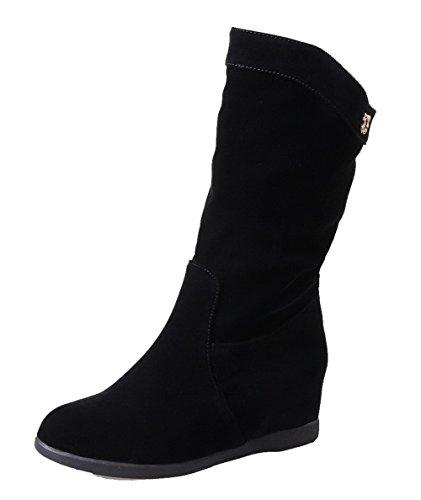 Sin Botas Redonda Tacón Black Ageemi Media Caña Puntera Mujer Cordones Medio Shoes HFqEqv6
