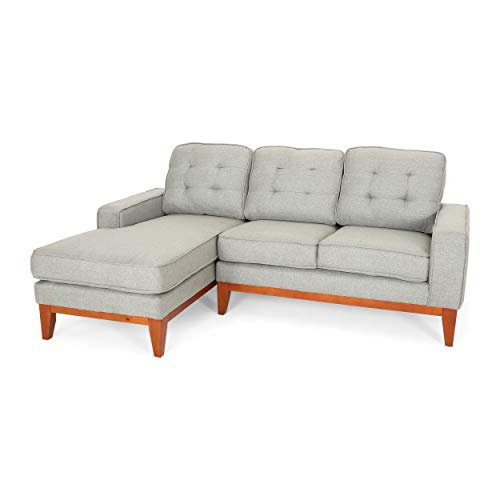 Penny Chaise Sectional Sofa Set, 2-Piece 3-Seater, Tufted, Exposed Wood, Mid-Century Modern, Gray (2 Piece Modern Sectional)