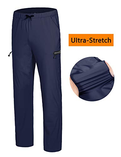 Little Donkey Andy Men's Stretch Quick Dry Ankle Pants with Drawstring Lightweight for Training Jogging Running Exercise Sports Travel Hiking Navy S - Nylon Athletic Pants