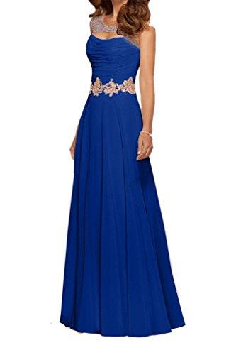 Ballkleider Brautmutterkleider A Blau La Linie Partykleider Abendkleider Wassermelon Langes Royal mia Braut Chiffon Bodenlang qwwxFp6Ya