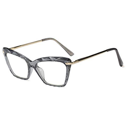 Fashion Cat Eye Style for Women Glasses Frame Crystal Non Prescription Eyewear Clear Lens-can Replace the Prescription Lens (gray)