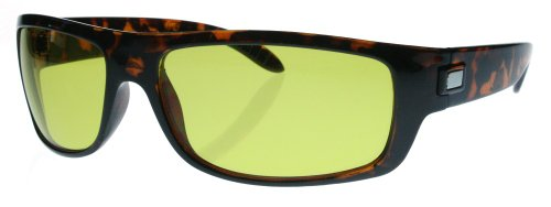 Fiore HD Night Driving Sunglasses Aviator Sport Wrap Glasses (Sport Plastic - Tortoise Frame)