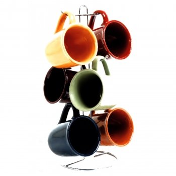 - Cafe Amaretto 7 pc Mug Set With Wire Rack